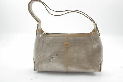 TODS'S S402 Tan Leather w/ Clear Sequin Baguette Handbag Made in Italy