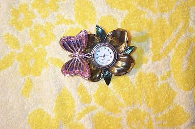 gemmed Butter Fly Miniature Clock With New Battery