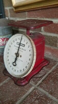 Antique Vintage  Sanders Frary Clark Universal house hold scale RED 1907 25lbs