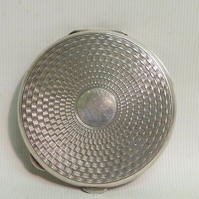 Solid Silver Engine Turned Compact Mirror, H/m Birmingham 1946