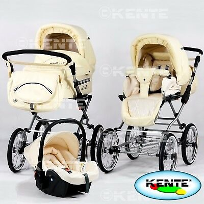 Classic look pram retro pushchair baby buggy option car seat ISO bas eco-leather
