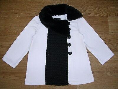 CYNTHIA ROWLEY Girls White Black Coat Fancy Occassion Jacket Age 9-12m