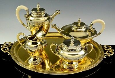 Gorgeous German Sterling Silver Gold Lion Figural Tea & Coffee Service With Tray