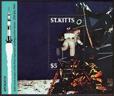 St Kitts MNH 1989 20th Ann of the First Manned Landing on the Moon M/S
