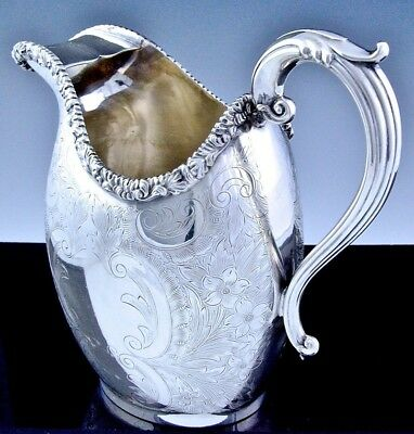 c1900 BARKER ELLIS SILVER PLATE STERLING MOUNT ETCHED ICE WATER WINE PITCHER JUG