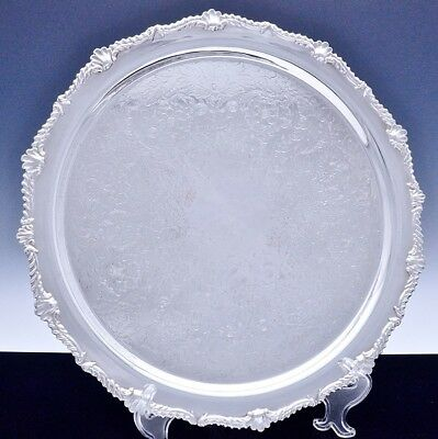 Beautiful Very Large Birks Silver Plate Flower Etched Round Serving Platter Tray