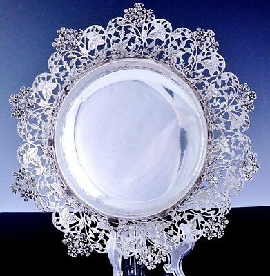 Exquisite Qualty Lavorata A Mano Italian 925 Sterling Silver Pierced Leaves Bowl