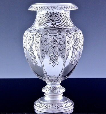 Very Nice Elegant Continental Sterling Silver Flowers Grapes Repouse Roses Vase