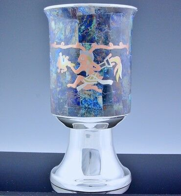 Incredble Los Castillo Silver Plate Mixed Metal Stone Inlaid Figural Scenic Vase