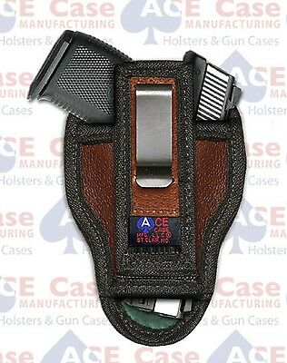 RUGER SR9C LEATHER CONCEALED IWB HOLSTER BY ACE CASE ***100% MADE IN