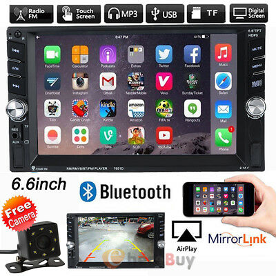 """6.6""""HD Double 2DIN Bluetooth Touch Screen Car Radio Stereo MP5 MP3 Player HD+Cam"""