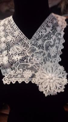 Two Antique Vintage Lace Dress Inserts Collars Edwardian Victorian