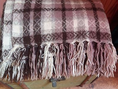 "VINTAGE WELSH WOOL WOVEN BLANKET 72 x 60"" fringe REVERSIBLE cutter damage"