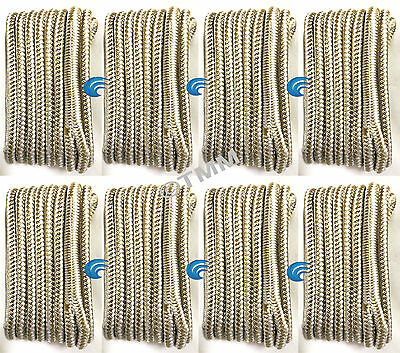 "(8) Gold/White Double Braided 3/8""x20' ft HQ Boat Marine DOCK LINES Mooring Rope"