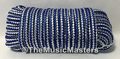 "Blue/White Double Braid Poly 3/8"" x 50' Marine UTILITY ROPE Boat Dock Line Cord"