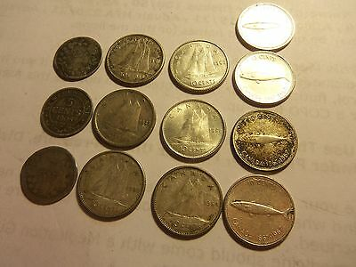 lot of canadian dimes and five cents silver