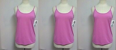(3 New with Tags) Jockey JKY Womens Pink Camisole Nylon Stretch Cami Top Large