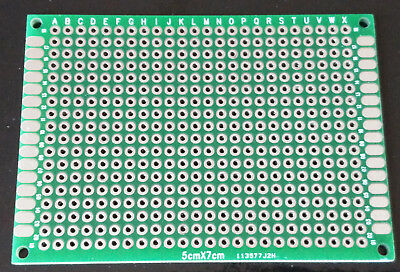 1pc Double sided perf board PCB - Through plated holes 5x7cm 50x70mm #A
