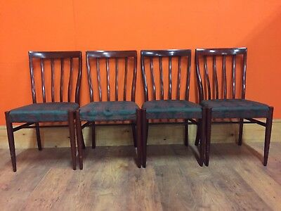 Set Of 4 Clean Nice Curved Back Dining Chairs In Good Solid Condition