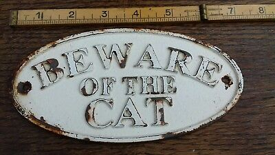 Old  Cast Iron  (Beware Of The Cat) Gate / Wall Sign Plaque