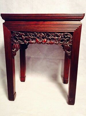 ANTIQUE ASIAN CARVED ROSEWOOD TABLE w/ UNIQUE MARBLE TOP