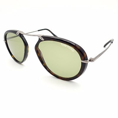 cb19fdcdba980 TOM FORD TF 473 Aaron 52N Dark Havana Green Authentic Sunglasses New ...