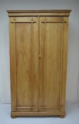 English Antique Pine Two Door Armoire