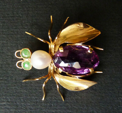 Broche en or massif + pierre mauve + perle insecte abeille gold  brooch