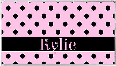 Personalized Checkbook Cover-Pink Black Polka Dots