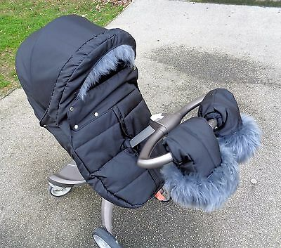 Winter kit with sheepskin fur fits any Stokke Xplory V3, V4, V5, Trailz, Cruzi