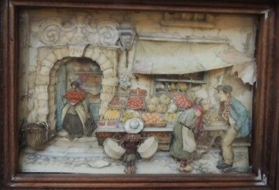 "Anton Peick 3D artwork Framed in wood, 8""x6"" scene: Bakery"