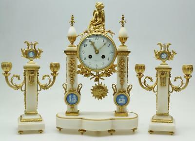 Antique French Empire White Marble, Bronze & Wedgwood Portico Mantel Clock Set