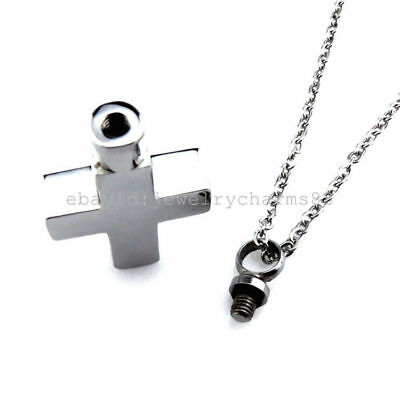 K337 Silver Cross Stainless Steel Memorial Cremation Urn Ashes Holder Necklace