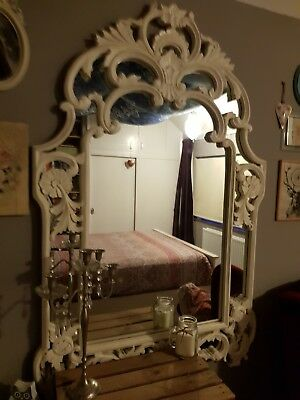 Beautiful Antique Vintage Shabby Chic French Farmhouse Ornate Mirror Very Large