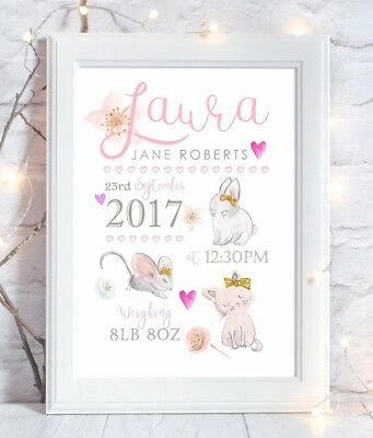 Personalised Cat & Rabbit Christening Gift Birth Print Nursery Wall Art Picture