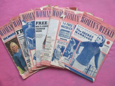 7 Vintage Woman's Weekly Magazines, Fashion, Knitting Patterns Etc 1960s