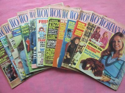 14 Vintage Woman's Weekly Magazines, Fashion, Knitting Patterns Etc 1970s