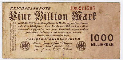 1923 - One Billion Mark - Germany #129 - Very Fine -Scarce!!!