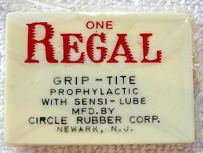 VINTAGE Regal Condom Case Circle Rubber Corp. With Original Contents Unopened