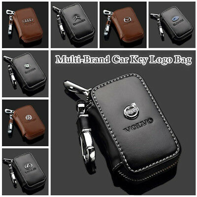 Multi-Brand Genuine Cow Leather Zip Men Women Car Key Bag Chain Ring Holder Case