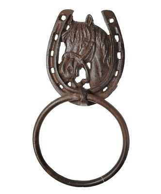 Country Western Bathroom Hand Towel Rack - Cast Iron Horse and Lucky Horseshoe