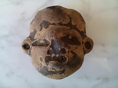 Antique Pre Columbian Mayan Terracota Head Figurine