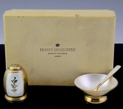 FABULOUS c1940 NORWAY GUILLOCHE ENAMEL STERLING SILVER SALT CELLAR & PEPPER POT