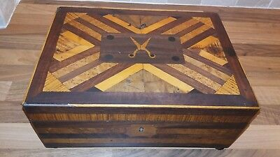 Antique/vintage arts and crafts marquetry wooden sewing/craft box