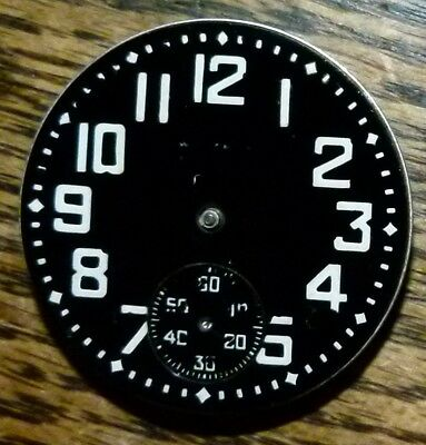 Antique 1900s Waltham Movement with Black Dial from Military Pocket Watch