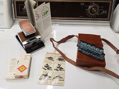 Vintage Poloroid SX 70 Film Land Camera with Leather Case, Flash Bars and More!
