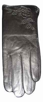 ladies womens black leather gloves with stitched flower detailing