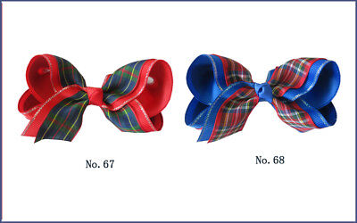 """20 BLESSING Good Girl Hair Accessories 4"""" Ginghams 2 Tone Double ABC Bow Clip"""