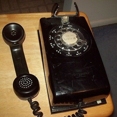 Vintage Western Electric Bell System Black Rotary Telephone Phone Wall Mount