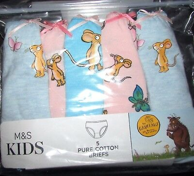 New 5 Packs Girls Pure Cotton Briefs 3-4 Years Marks & Spencer The Gruffalo